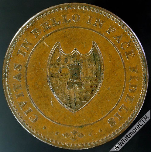 19th Century HalfPenny Worcester 1270 1811 Arms of city / Value in wreath.