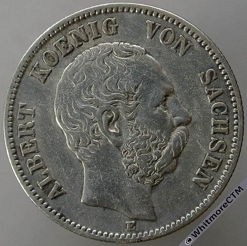 1876 Germany Saxony 2 Marks Y180 - Silver