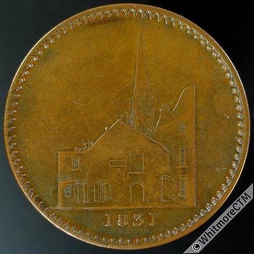 1831 Chichester Token 28mm E.Parker Importer of Wine. Vaults & Spire - Bronze