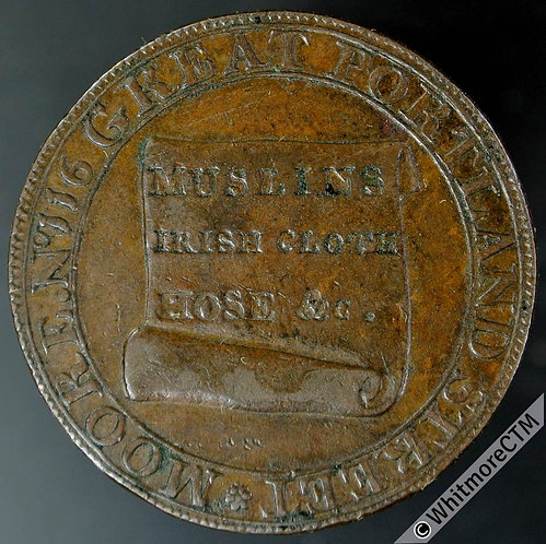 18th Century Halfpenny Middlesex 389 1795 Moore's.  Coarse milled edge.