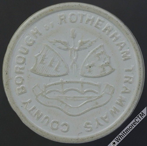 Transport Token Rotherham 23mm County Borough Tramways 1D. White plastic.
