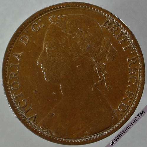 1877 British Bronze Penny - Normal date