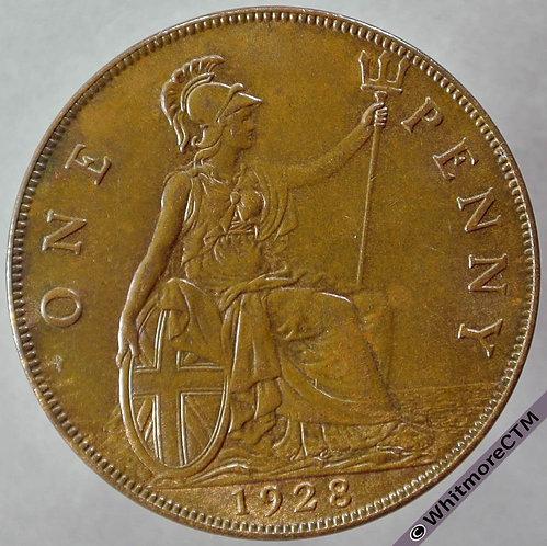1928 British Bronze Penny George V - 10% Luster