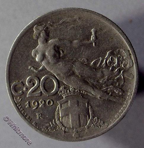 1920 Italy Y47 20 Centesimi coin