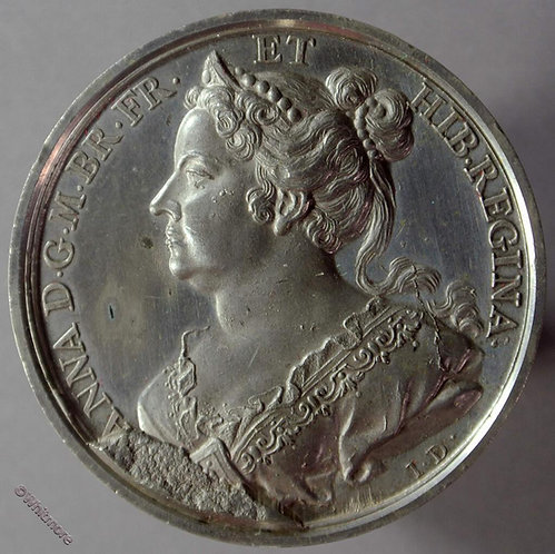 Anne B1437-31 Draped bust L.  By Thomason after Dassier.  White metal