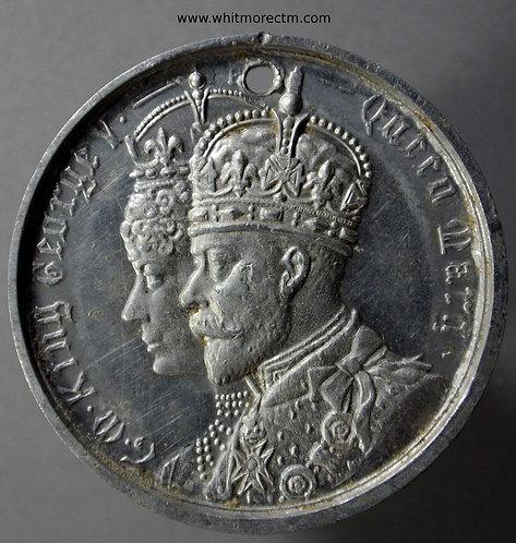 Bridlington 1911 Coronation Medal 39mm Aluminium. Pierced