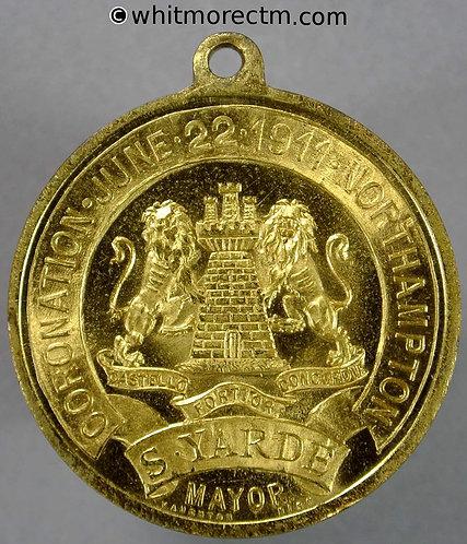 Northampton 1911 Coronation Medal 32mm by Vaughton Gilt brass