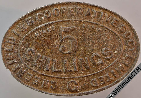 Co-Operative Society Token Greenfield I & B 38x25mm 5 shillings by Hinks.Birm