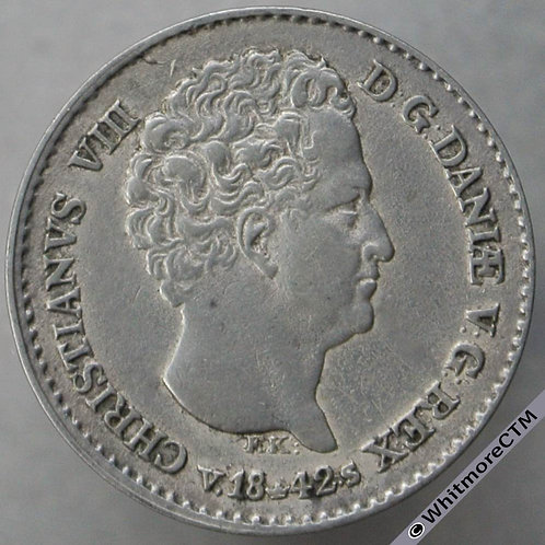 1842 Denmark 4 Rigsbank skilling C123 VS Silver