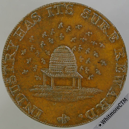 18th Century Halfpenny Cambridgeshire 17 Beehive & bees / Plough & shuttle.