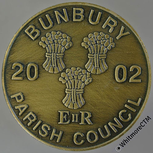 Bunbury 2002 Golden Jubilee Medallion 38mm 3 Wheatsheaves etc Bronze.
