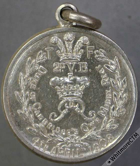 1908 4th April. Duke of Cambridge's own Middx. Regt. silver with suspender