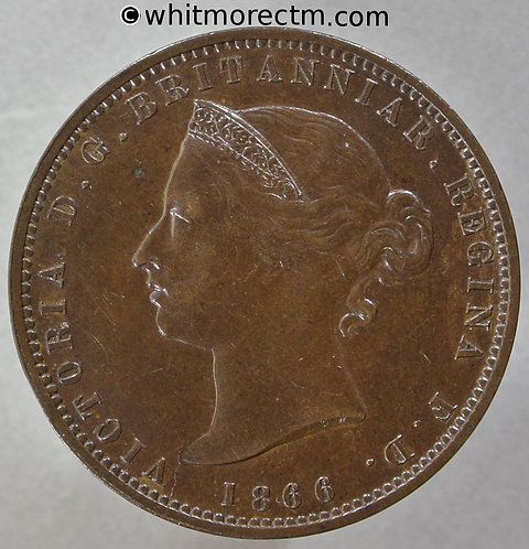 1866 Jersey one thirteenth of a Shilling coin obv L.C.W .65mm between 66