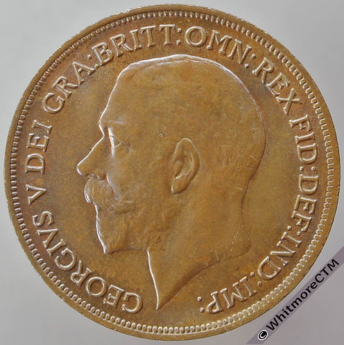 1919 British Bronze Penny George V - 20% Luster