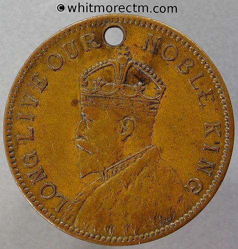 Pirbright 1902 Edward VII Coronation Medal obv 29mm WE4375D By Lauer Bronze Pierced