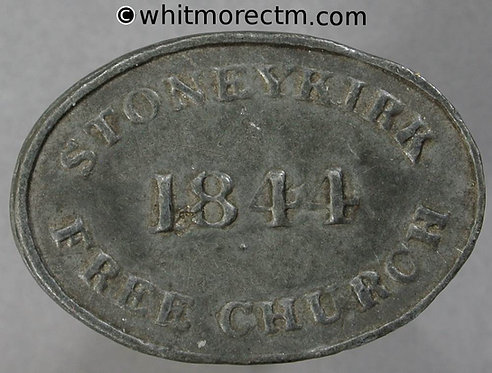 Communion Token Stoneykirk obv C5767 30x21mm 1844 Free church / Let a man etc. Oval