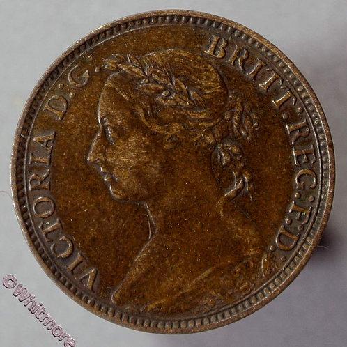 1893 British Bronze Farthing Victoria Bun Head