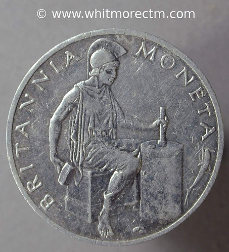 1957 Royal Mint trial strike 23mm - Britannia Moneta - Aluminium
