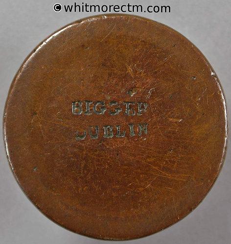 Countermarked Cartwheel Penny, Dublin 98.1C BIGGAR DUBLIN on obverse