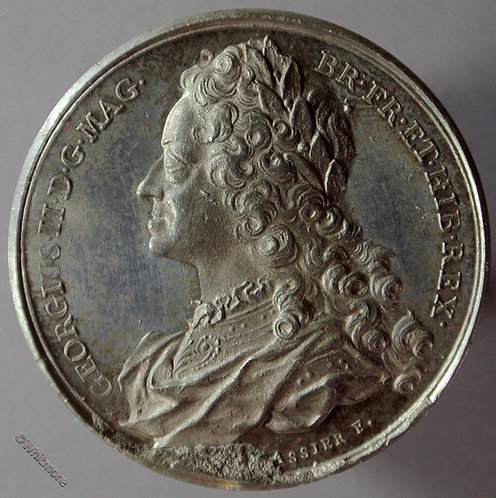 George II B1437-33 Laureate bust L.  By Thomason after Dassier.  White metal