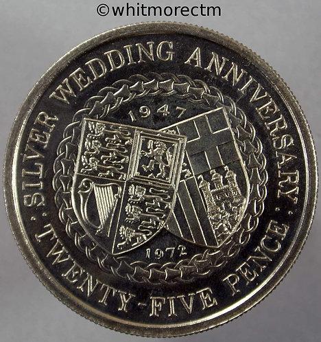 1972 Isle of Man 25 Pence Y8 Silver Wedding Half Crown rev
