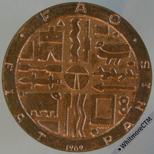 1969 Uruguay 1000 Pesos Crown FAO Commemorative - Y53a Bronze
