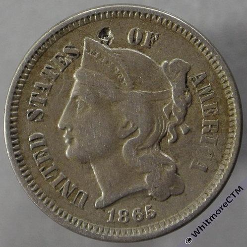 1865 USA 3 Cent - obv