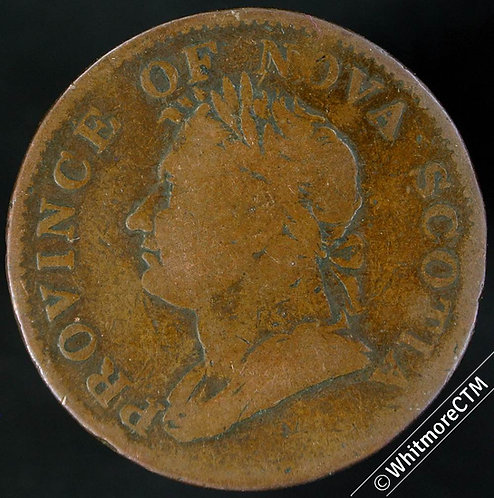 1832 Canada Nova Scotia Half Penny - George IV long Right Ribbon