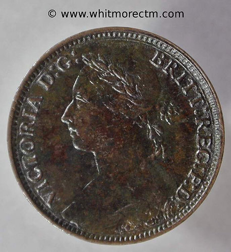 1881 Victoria Young Head  Bronze Farthing 1/4d 1881H