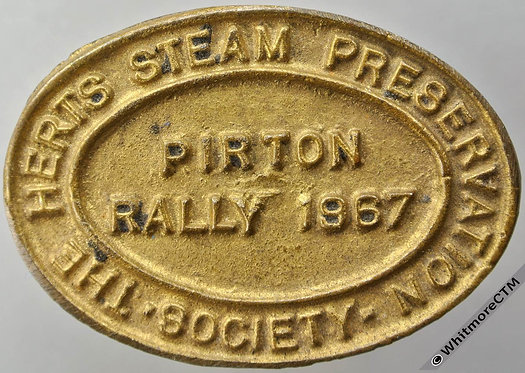 Pirton Herts Steam Preservation Society Rally 1967 Medal 54x38mm Oval brass