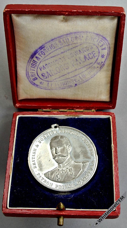 1892 British & Foreign Sailors Society Medal 38mm HMS Bacchante White Metal