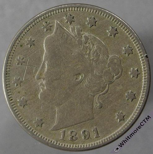 1891 USA 5 Cent Liberty Nickel obv