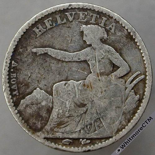 1850 Switzerland ½ Franc - Pointing Helvetia Y26