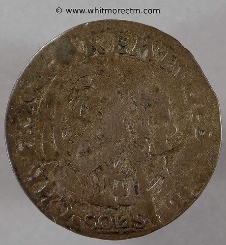 1648 Italy Sardinia 5 Soldi coin Car. Em.II with Maria Christina. Billon