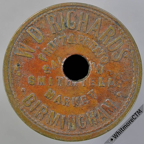 Market Token Birmingham 25mm W7336 2/- W D Richards Fruit & Potato. Broad 2 no s