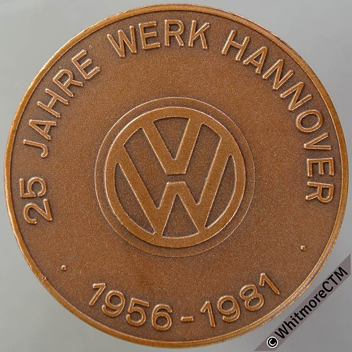 1981 Germany Volkswagen 25th Anniversary Medal 40mm - Bronze