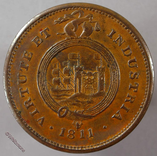 19th Century Penny Bristol 528 1811 Bristol & South Wales Plumes Arms in garter - obv
