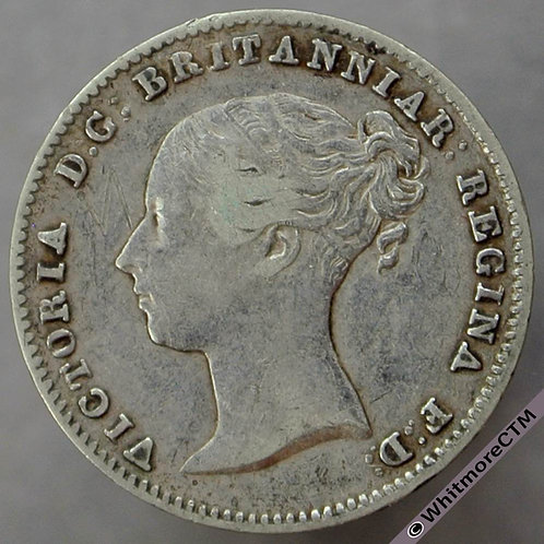 1845 Victoria young Head threepence 3d