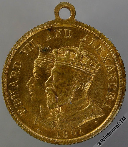 1901 Death of Queen Victoria Medal 22mm B3705 Gilt brass with suspender