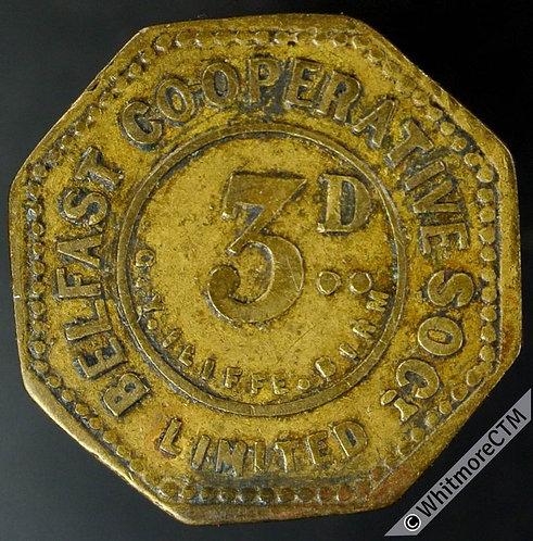 Co-Operative Society token Belfast 23mm 3D. By Iliffe / Leaoard (worn die) brass
