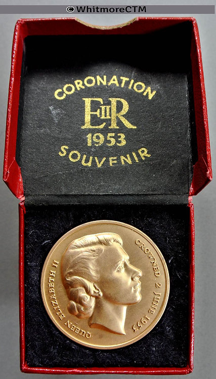 1953 Elizabeth II Coronation Medal 35mm AnodizedAluminium By Pinches WE8056H boxed