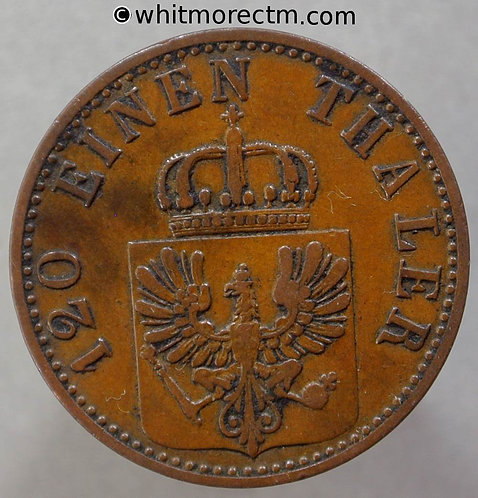 1867 Germany  Prussia C163 3 Pfennig coin 1867A obv