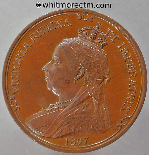 1897 Diamond Jubilee Queen Victoria Medal 37mm B3598 Pinches - Bronze