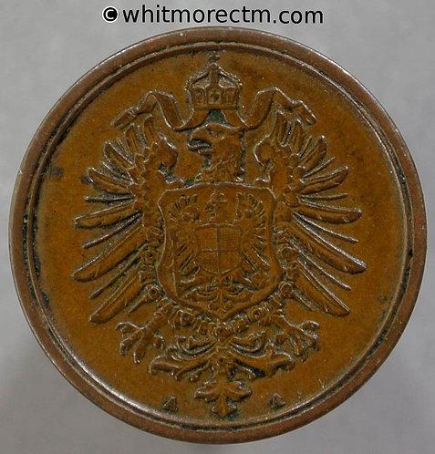 1874 Germany 2 Pfennig coin 1874A Y2 obv