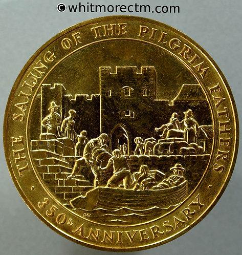 Boston Plymouth Southampton 1970 350th Anniversary Medal Set 39mm Cased Bronze