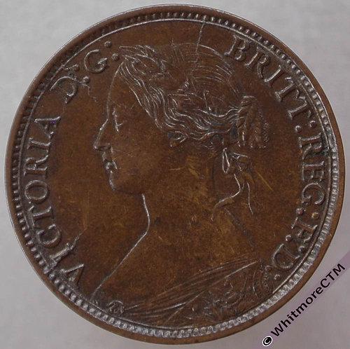 1866 British Bronze Farthing Victoria Bun Head.