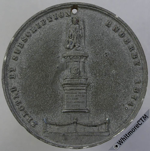 Enderby Leics 1874 Erection of monument to Charles Brook Medal 38mm White metal