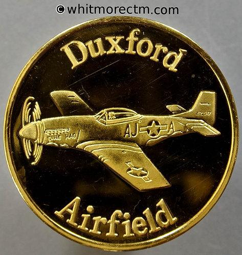 Duxford (Cambs) American Air Museum Souvenir Medal 39mm Mustang - Gilt bronze