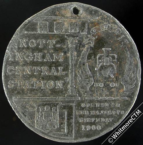 1900 Nottingham Opening of Central Station Medal 45mm long legend - White Metal
