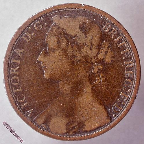 1876 British Bronze Penny 1876H Victoria Young Head 8+J